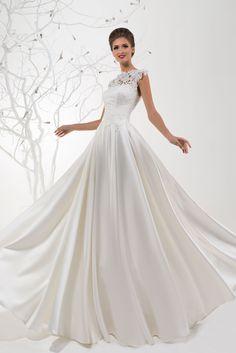 c8bb33a3e663 Elegantné svadobné šaty so saténovou sukňou - trend 2016