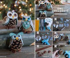 Pine Cone Owl Ornaments wonderfulDIY Wonderful DIY Lifetime Fabric Pine Cone Ornaments