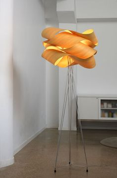 Spanish lighting manufacturers LZF commissioned Irish designer Ray Power to create a family of lights to be used in both residential and commercial spaces. Handmade exclusively out of wood veneer, this collection encompasses pendant lamps and floor lamps that radiate a delicate light, creating a relaxing atmosphere.