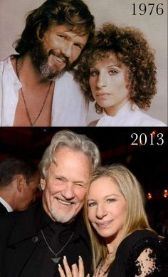 "A STAR IS BORN (1976) - Photos of Kris Kristoferson & Barbra Streisand during filming of 1976 Warner Bros. motion picture, ""A Star Is Born"" and 37 years later in 2013."