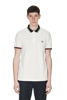 Our piqué polo shirt, reworked with chunky ribbed trims in bold contrasting colours. Pique Polo Shirt, Polo Shirts, Fred Perry, Snow White, Polo Ralph Lauren, Button Down Shirt, Men Casual, Mens Tops, Fashion