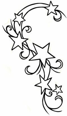 Colored Star Tattoos Designs