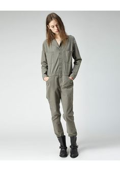 La Garconne jumpsuit.  $595.00.  More for the Khaki-Lunarcore, worn with the right boots and jacket, this could easily pass for something a female station worker would be found in.  For day to day wear, you'd need to dress it up a bit to look less like you've just stepped off an oil rig.