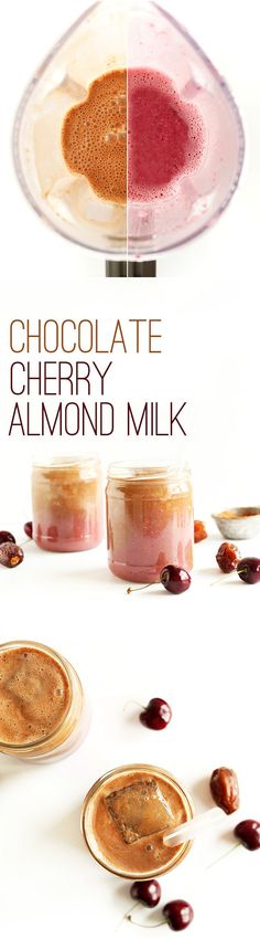 HEALTHY, super creamy chocolate cherry almond milk made with 4 ingredients and NATURALLY SWEETENED! #vegan #glutenfree #chocolate