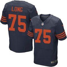 Men Chicago Bears  75 Kyle Long Black Elite Jersey  BearsLogo  Jersey   BearsTeam ef4987ffc