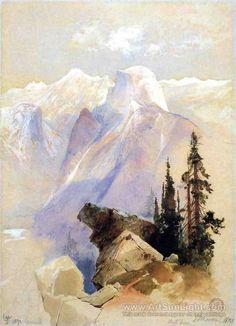 thomas moran watercolor | Half Dome, Yosemite - Thomas Moran