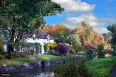 Quiet canalside in early Autumn. A house on the Kennet and Avon Canal, near Lympney Stoke, Wiltshire, England.