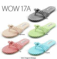 summer fresh flip flops <<< yes, please, a pair of each! Flip Flop Show, Cute Shoes, Me Too Shoes, Flip Flop Sandals, Flip Flops, Gingham Fabric, Red Turquoise, Walk This Way, Gingham Check