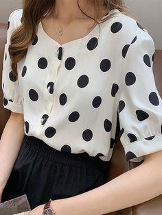 Short Sleeve Button Up, Vinales, Polka Dot Top, Chiffon, Color Black, Blouse, Collection, China, Women