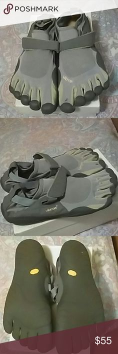 Vibram 5 fingers barefoot running toe shoes M145 Good wearable condition gently used  but one pair has a very small tear at the left big toe. Vibram Shoes Sneakers