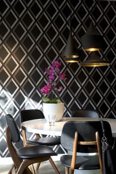 stunning wallpaper and copper & black light fixture