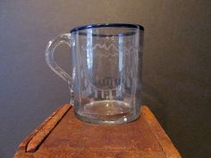 Hand Blown & Engraved with Cobalt Trim and Engraved Cup - Queen Street Antiques Mall - Tappahannock - VA