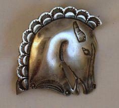 Vintage Sterling Navajo Horse Head Brooch