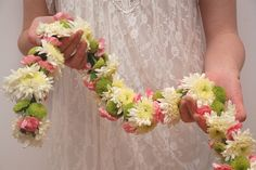 Use Cut Flowers to Make This Floral Garland --> http://www.hgtvgardens.com/weddings/make-your-own-wedding-garland?soc=pinterest