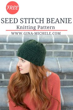 Free #knitting pattern for this Seed Stitch Beanie
