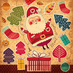 Buy Vector Christmas card with funny Santa Claus by MoleskoStudio on GraphicRiver. Vector Christmas card with funny Santa Claus and christmas accessories. Image contains VECTOR EPS 10 and high resolut. Christmas Greeting Cards, Christmas Greetings, Christmas Humor, Merry Christmas, New Year Doodle, Vintage Wallpaper, Christmas Templates, Vector Christmas, Grunge