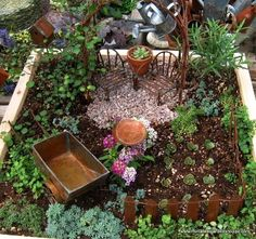 Tips for making your own fairy garden...list of craft ideas for furnishings and small mini plants.