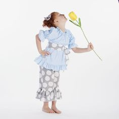 Check out this Gray Dot Aqua Ruffle Capri Set for $39 or find your favorite gifts at Lolly Wolly Doodle. Click on the link to receive three dollars off your next order!