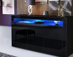 Black Gloss Doors Sideboard Modern Cabinet Cupboard Buffet Unit LED Light 130cm