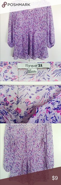 Quarter sleeve blouse from forever 21 Never worn quarter sleeve blouse from forever 21, different shades of purple, Cinches in the back to give shape, light weight, and sheer Forever 21 Tops Blouses