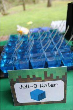 """DIY Minecraft Camp Minecraft """"Water"""" Jello Snack"""