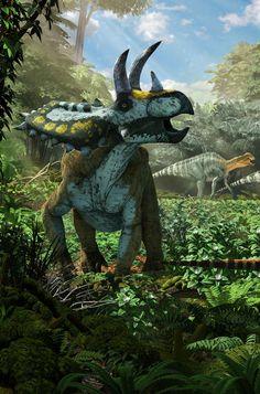 Coahuila Dinosaurs, Mexico Desconocido Magazine. Diorama detail; Coahuilaceratops. Art by Román García Mora.