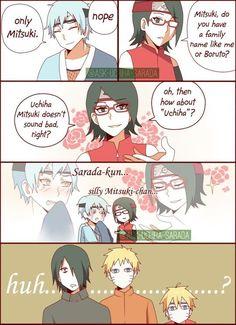 "Sarada ""I'm really good at flirting"" Uchiha Sasuke X Naruto, Anime Naruto, Boruto And Sarada, Naruto Cute, Sakura And Sasuke, Anime Manga, Anime Meme, Naruto New Generation, Yamanaka Inojin"