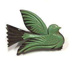 RARE Vintage 1930s 40's Green Bakelite & Wood Dove Bird Carved Brooch Pin…