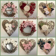 Valentine's Day Gifts Ideas For Him & Her, home decor. Valentine Day Wreaths, Valentine Crafts, Christmas Crafts, Christmas Ornaments, Wicker Hearts, Wooden Hearts, Felt Flowers, Paper Flowers, Crafts To Make