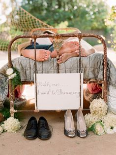Adorable photo!!    Love the sign... should make one for the master bedroom.