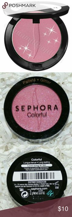 Sephora Colorful Eyeshadow Single New/Sealed (Swatches from Google)  Full Sz & Authentic  Color: Lovesong (flashy pink glitter)   Flash superior color, flawless wear & long-lasting beauty with this striking eye shadow formula. The Color Eye Last complex means you can comfortably wear this shadow up to 10 gorgeous hours & the micronized pigments ensure an ultra smooth, blendable texture.  Don't forget to check out the rest of my page for more great items & discounts. #oneinamillionjillian…
