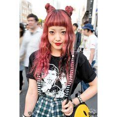 Harajuku Fashion Blogger w/ Double Buns, Bad Acid, SANKAKU Unif ❤ liked on Polyvore featuring hair