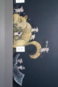 "David Zinn: """"Darkroasted: Siege of the Coffeedragon"" - chalk & charcoal on chalkboard-painted office wal"""