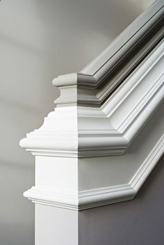 Elizabeth Kimberly Design - entrances/foyers - two tone handrail, white and gray handrail, staircase handrail, gray handrail, Gorgeous stai...