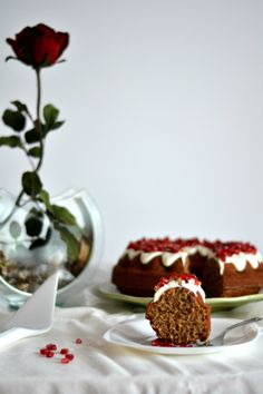 Wallnut, Coffee and Pomegranate Cake