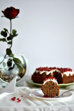 Wallnut, Coffee and Pomegranate Cake