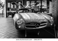 BERLIN, GERMANY - MAY 17, 2014: Body Mercedes-Benz 300SL (W198) in the restoration workshop of Mercedes-Benz. Black and white. 27th Oldtimer Day Berlin - Brandenburg  - stock photo
