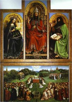 Jan van Eyck, God the Father, 1432  Lamb of God Altar Piece St Baafs Cathedral Ghent Belgium