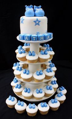 Baby Boy Cupcake Tower