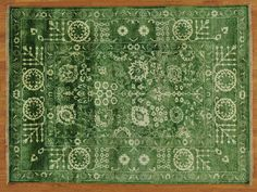 Hand Knotted Wool and Silk Light Green Tabriz Oriental Rug- Product:5-x-6.5-Hand-Knotted-Wool-and-Silk-Light-Green-Tabriz-Oriental-Rug-Sh20186