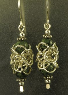 Turkish Orbital #Earrings by Lorraine. The #beads are half-caged by the Turkish Orbital units. #Maille