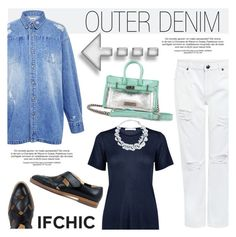 """""""Denim outerwear that goes with anything"""" by ifchic ❤ liked on Polyvore featuring Edit, Atea Oceanie, Mohzy, DIANA BROUSSARD, women's clothing, women, female, woman, misses and juniors"""