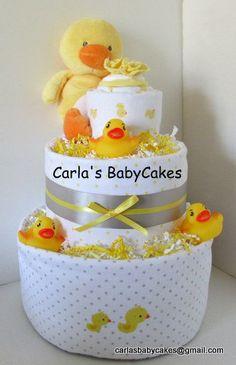 Duck Theme Diaper Cake - Receiving Blanket Diaper Cake - Neutral Baby Shower Diaper Cake