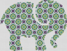 Counted Cross Stitch Pattern or Kit, Animal, Geometric pattern elephant | eBay