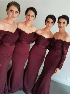 Gorgeous Off-the-shoulder Mermaid Long Burgundy Bridesmaid Dress/Evening Dress…