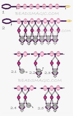 FREE Pattern - MARIPOSA Necklace | Beads Magic. Use: crystal rondelles 6-8mm, pearls 4mm and 6mm, seed beads 11/0. Page 2 of 2