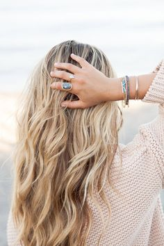 A Fashion Love Affair w/ Leah Alexandra Jewelry, Kelly Brown Photos. Love her beach waves!