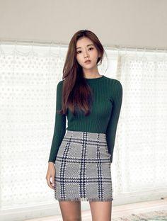 Ribbed Long Sleeve Knit Top - Green