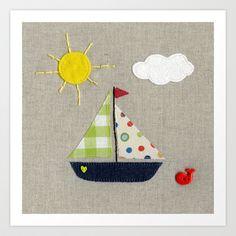 Baby Boat | Art Print - Nursery room decor, nursery art prints, baby nursery decor, kids wall art, boys room, children room - Available on Society6.com