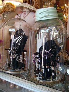 ❥ cloche jewelry display {via Bountiful}